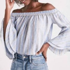 Lucky Brand Blue Stripe Off Shoulder Blouse
